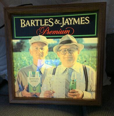Vintage 1980's Bartles & Jaymes Wine Cooler Light Up Bar Sign * Tested * WORKS