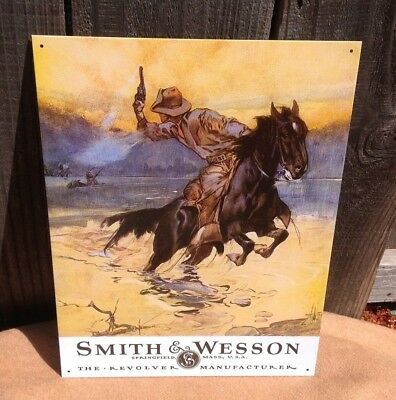 SMITH AND WESSON REVOLVER MANUFACTURE Tin Metal Sign Wall Garage Classic Vintage