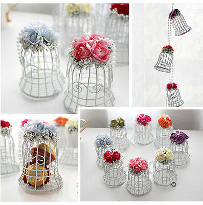 White Bird Cage Wedding Party Gift Box Metal Candy Chocolate Flower Table Decor - Party Candy Table