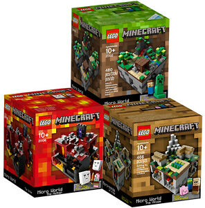 3-MINECRAFT-LEGO-SETS-Forest-Village-Nether-21102-21105-21106-MICRO-WORLD