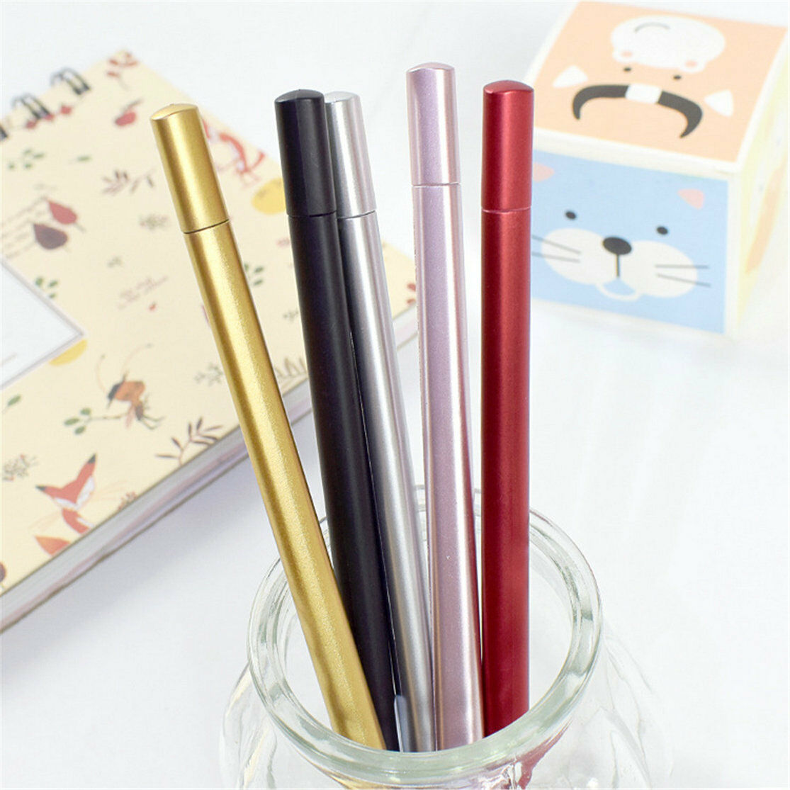 Details about 8pcs Office School Kids Business Metal sense Ballpoint Writing Gel Pens Gifts
