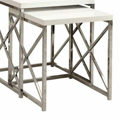 Monarch Specialties Contemporary Accent 2-Piece Nesting End Tables, Glossy White