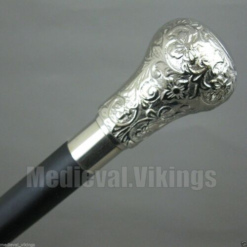 Brass Silver Head Walking Cane Vintage Solid Wooden Black Designer Stick Gift