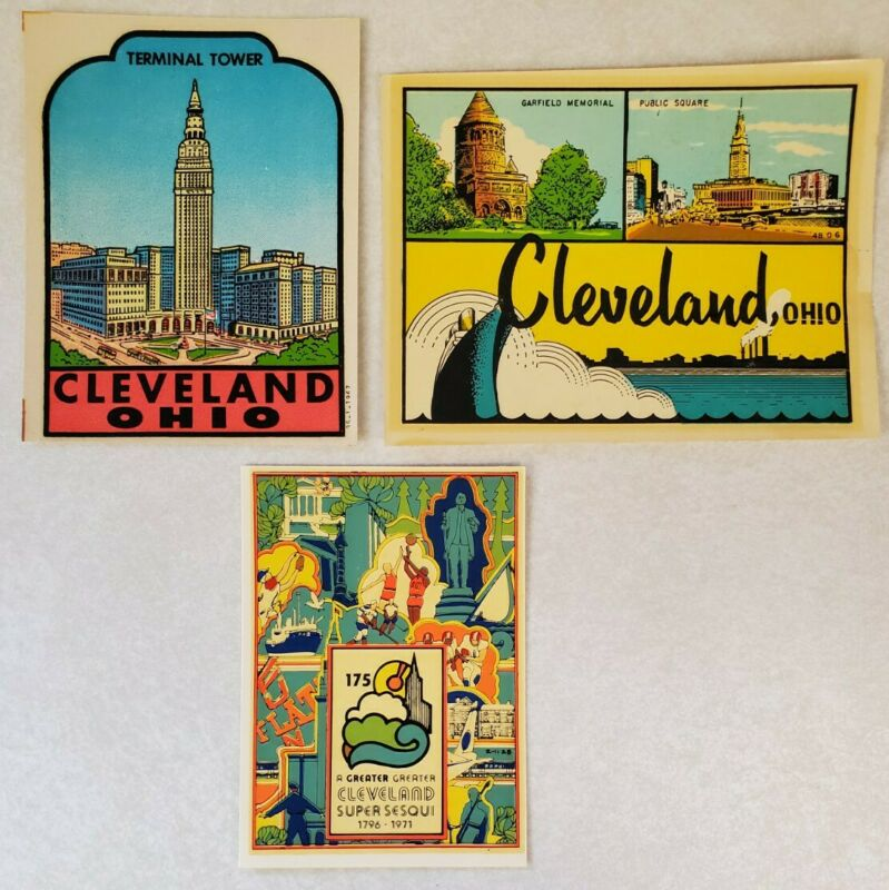 Lot of 3 Vintage Cleveland Ohio Water Transfer Car Decals - Travel Souvenir