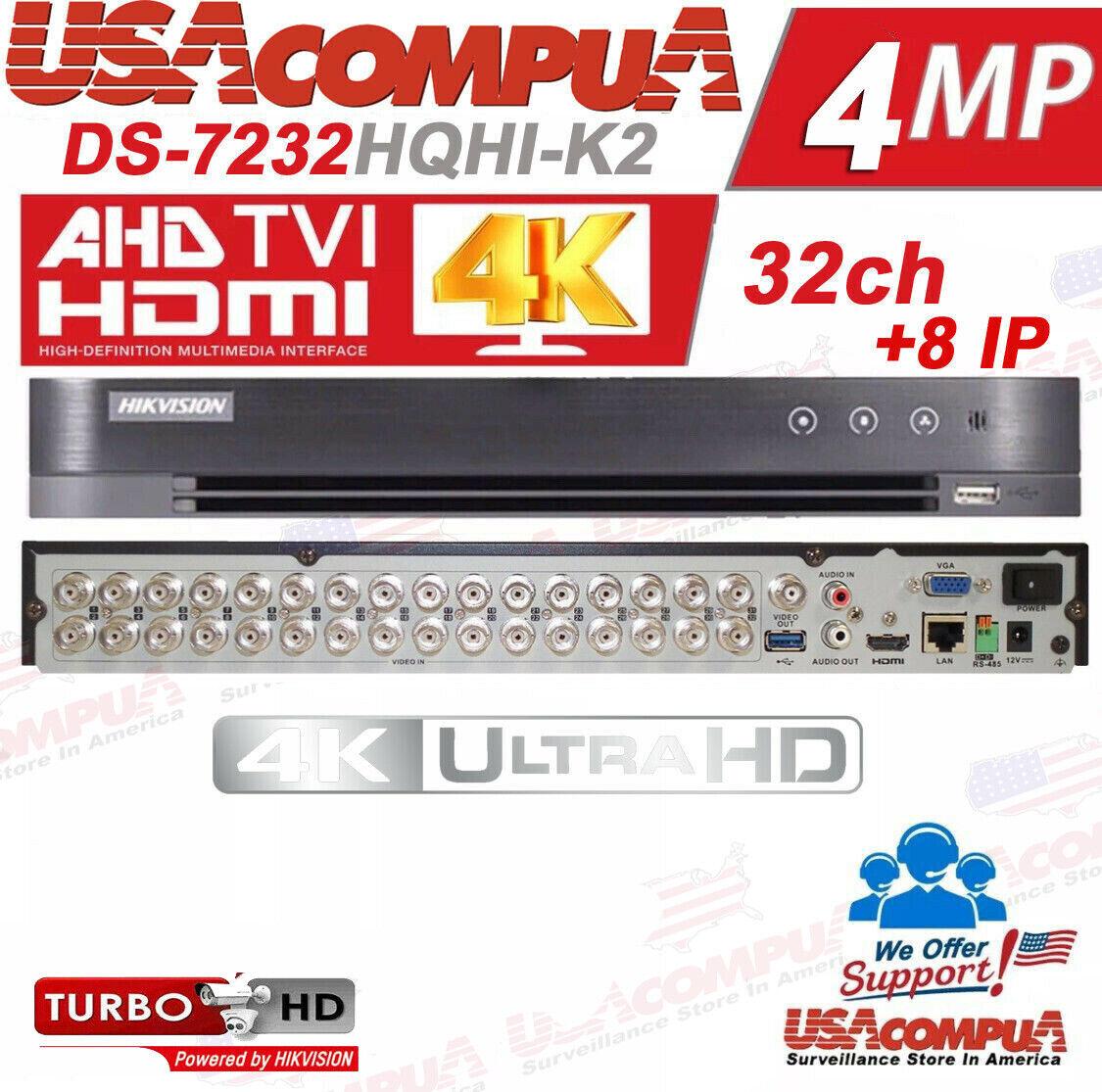 Hikvision 32 CHANNEL DVR 32CH DS-7232HQHI-K2 H.265+ 4MP TVI/