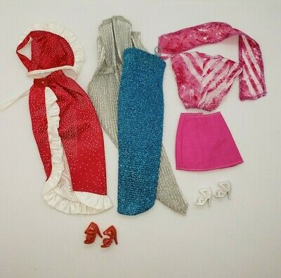 Vintage Barbie 80s Fashions Blue Red Skirts Tops Dress Metallic Lot