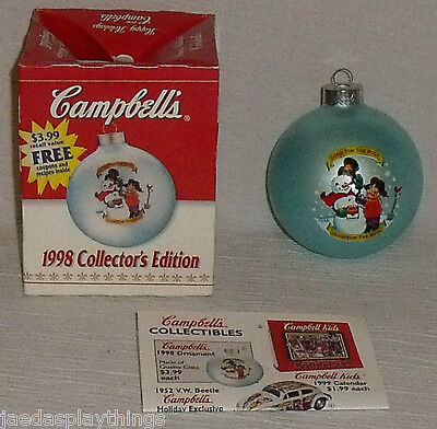 1998 Campbells Kids Snowman Glass Ball Christmas Ornament in Box