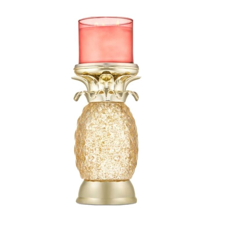 🍍 PINEAPPLE WATER GLOBE PEDESTAL 3-WICK CANDLE HOLDER Aloha! A Must-Have...
