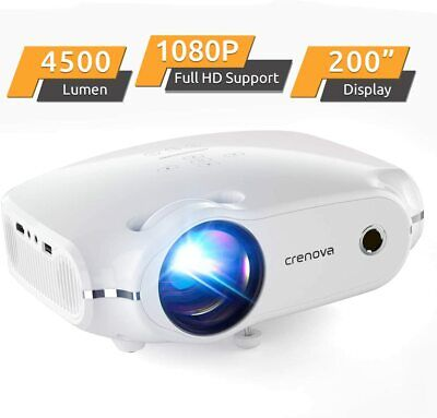 Video Projector 1080P HD Supported 4500Lux Noise Canceling HDMI Portable Bundle