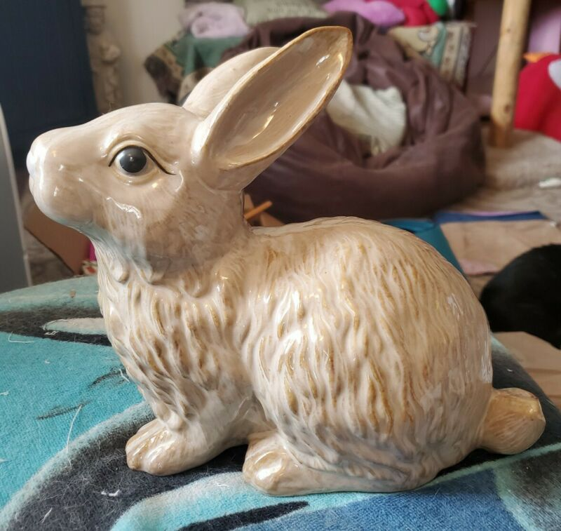 Vintage Ceramic Bunny Rabbit Figure Large Adorable for Easter