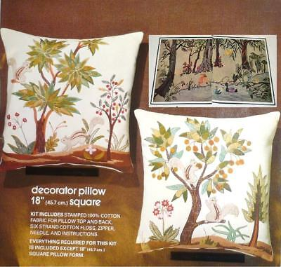 - 2 PILLOWS Crewel Embroidery Kit * Vintage 1978 LOT * FREE: Wall Hanging Pattern