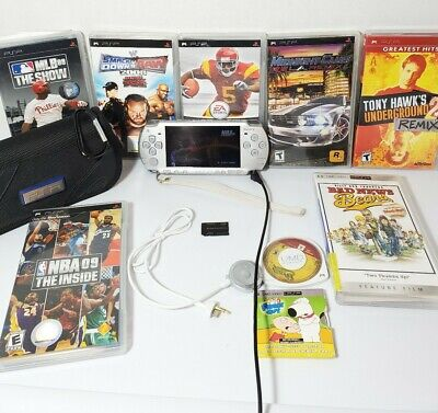 Sony PSP 2001 Slim Launch System -WORKS- Silver 8 Games 2 Movies Case Read Desc