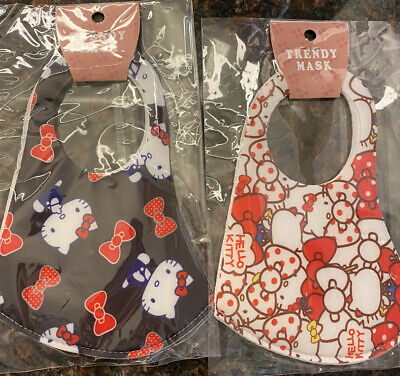 """Adult/Teens"" ~Hello Kitty~ FACE MASK - WASHABLE (2 Masks) Black N White"