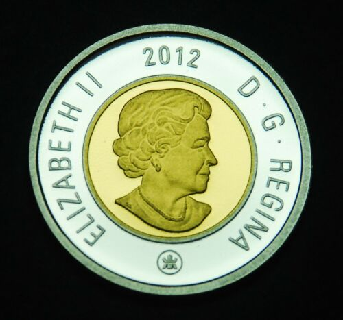 """2012 $2 silver proof """"toonie"""" with gold inlay - pure silver"""