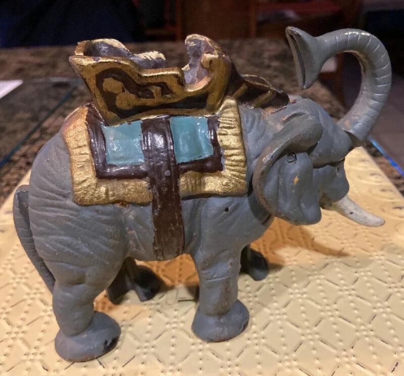 VINTAGE CAST IRON MECHANICAL CIRCUS ELEPHANT BANK Trunk FLIPS