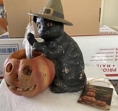 Bethany Lowe Halloween Black Cat W/Pumpkin