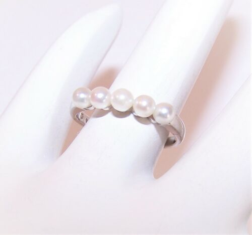 Vintage Mikimoto 14K White Gold Cultured Pearl Fashion Ring - Promise Ring