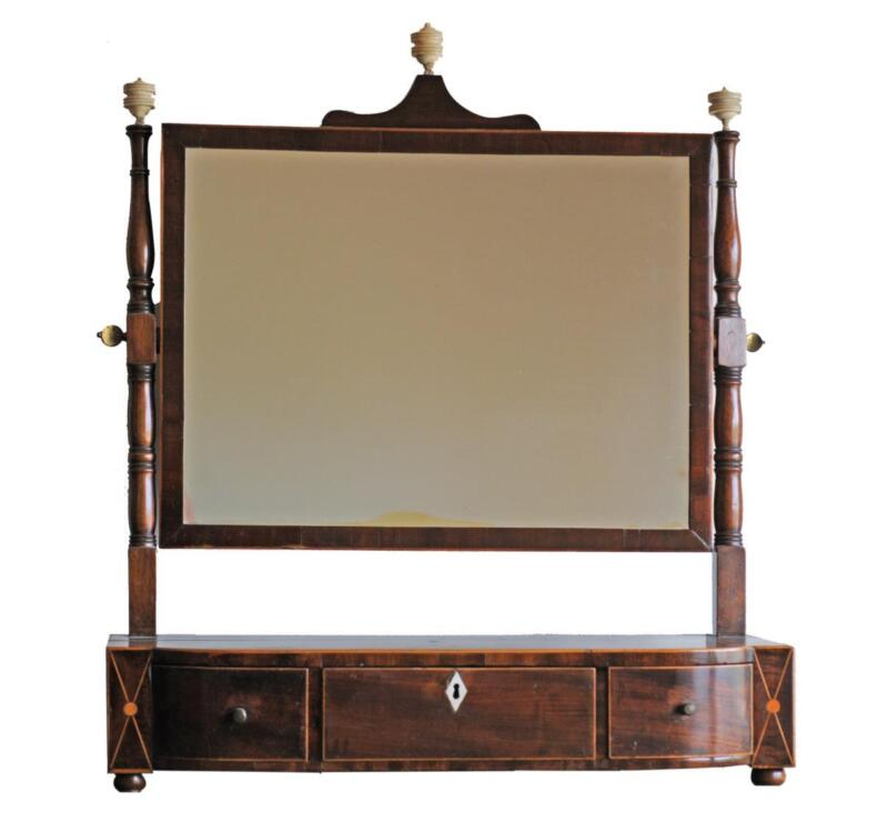 Antique George III Inlaid Mahogany Swell Front Three Drawer Dressing Mirror