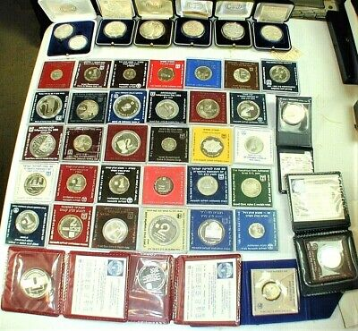 43 Coin Lot Of Silver Commemorative Coins Of Israel In Holders As Shown WC 5  - $756.56