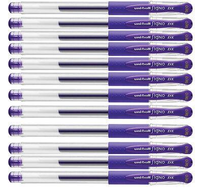 12 Uni Ball Signo Dx 0.38 Gel Purple Pens New In Box 2029698 1 Dozen