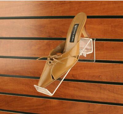 Slatwall Swivel Clear Acrylic Shoe Display Shelves - Lot Of 46 Pieces