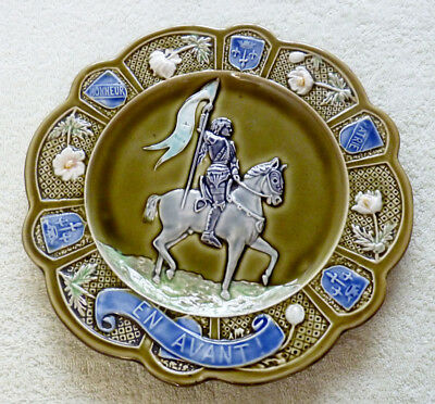 Antique French 19th Century Majolica 'Joan of Arc' Commemorative Plate