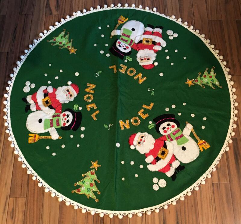 """Christmas Felt Tree Skirt Sequins Pon Poms Tassels Noel Santa Snowman 43"""""""