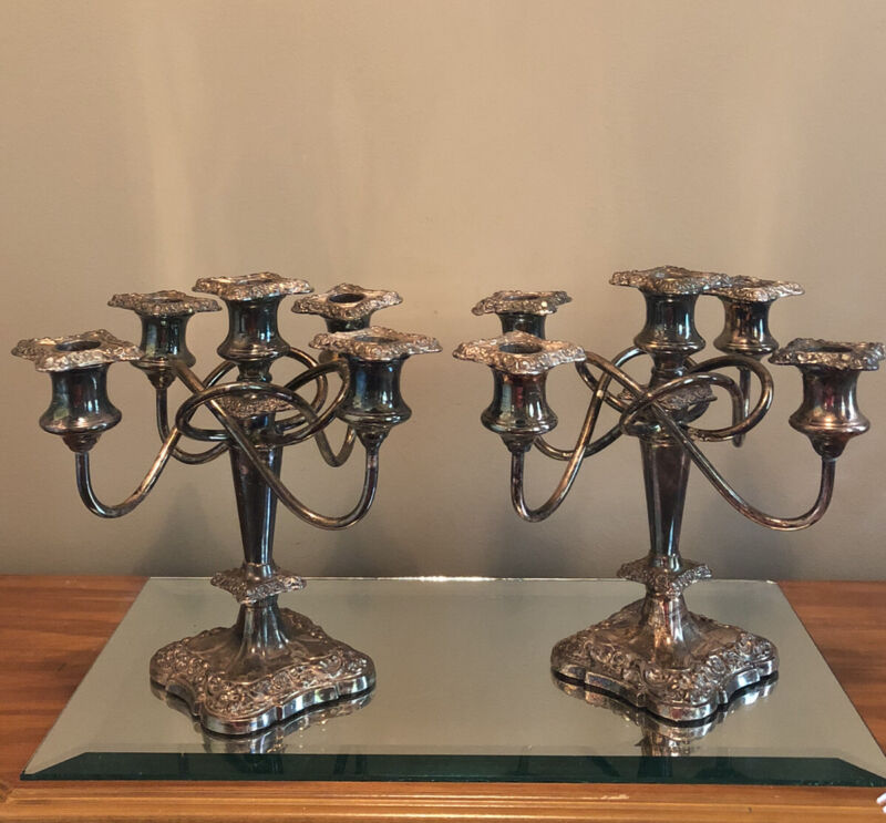 Victorian Twisted Baroque Silverplate 5 Arm Candelabra Set Of 2 BP