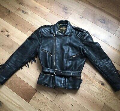 Wright & Ditson Leather Biker Jacket Vintage 1990s Size Fits Uk 12 To 14 Ladies