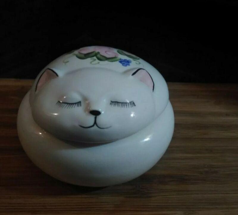 Trinket Dish Sleeping Cat Hand-painted