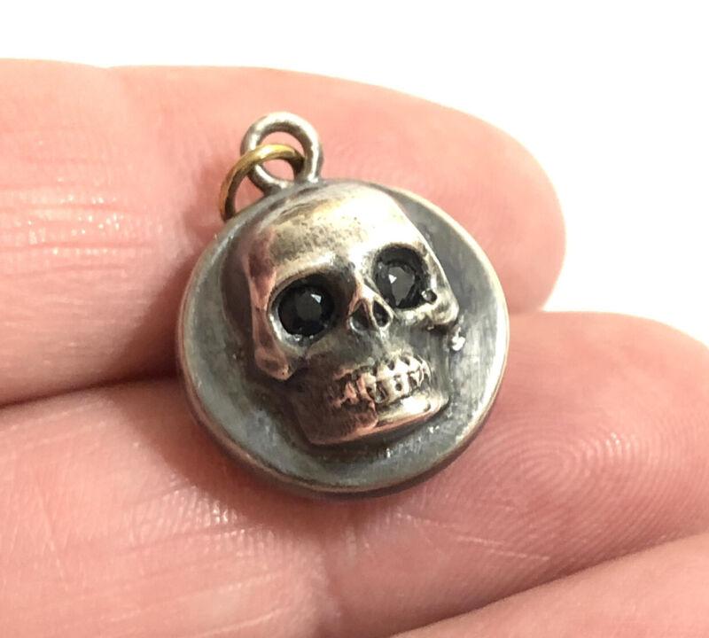 Antique Sterling Silver Black Diamond Skull Pendant , Moss Agate