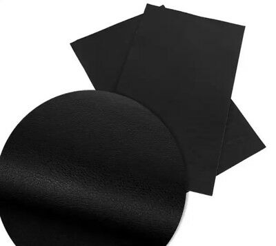 Black textured solid colors faux leather sheet vinyl fabric / full or 1/2 (Black Faux Leather)