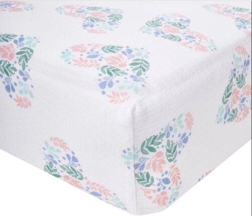 """aden by aden + anais Crib Sheet - Floral Heart - Pink 52"""" X 28"""" 100% COTTON"""