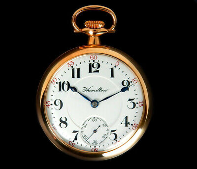 Mega Rare Antique Railroad 21J 18s Hamilton 942 Gold Pocket Watch Mint, Serviced