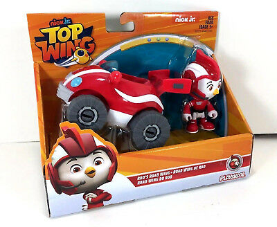 """NEW Nick Jr TOP WING 3"""" Action FIGURE & VEHICLE Racer ROD Toy Road Wing Car"""