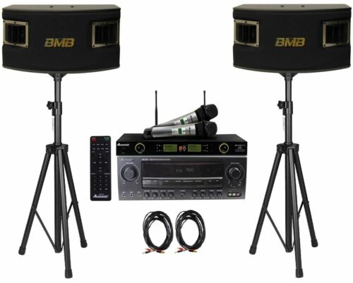 BMB CSV-450 500W Speakers Acesonic AM-200 Bluetooth Karaoke Amplifier and Mic