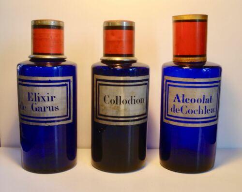 3 - Antique ~COBALT BLUE ~ Pharmacy / Medicine / Druggist / Bottles