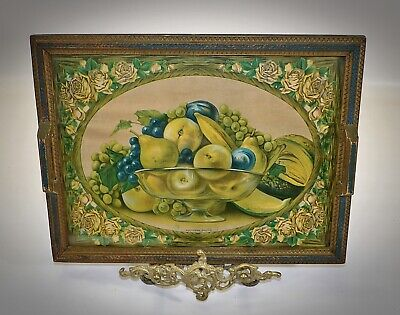 Antique Southern Fruits Print Art Deco Picture Frame Tea Serving Tray