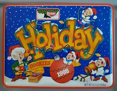 Vintage 1998 Keebler Holiday Christmas Cookie Tin Collectible Container