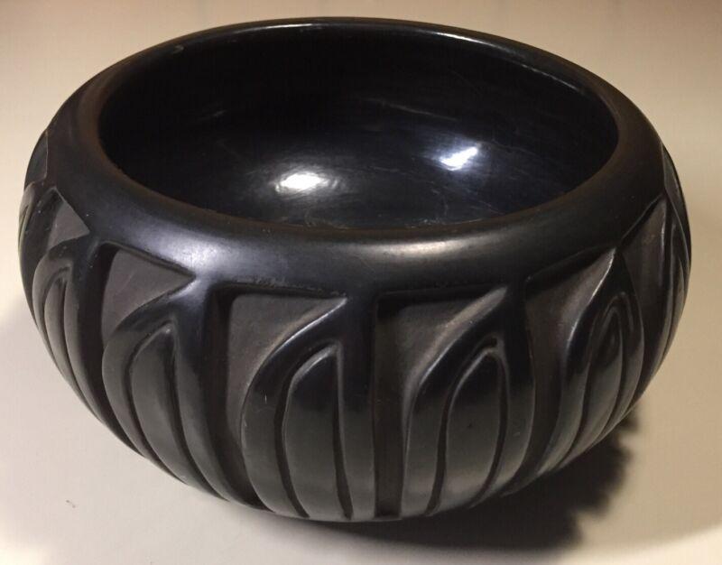 Vintage Santa Clara Pueblo Black On Black Pottery Bowl Signed Belen Tapia