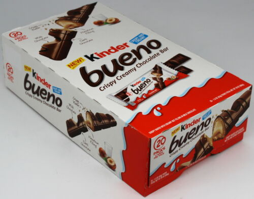 Kinder Bueno Milk Chocolate & Hazelnut Cream Candy Bar Box of 20 Packs of 2 Bars