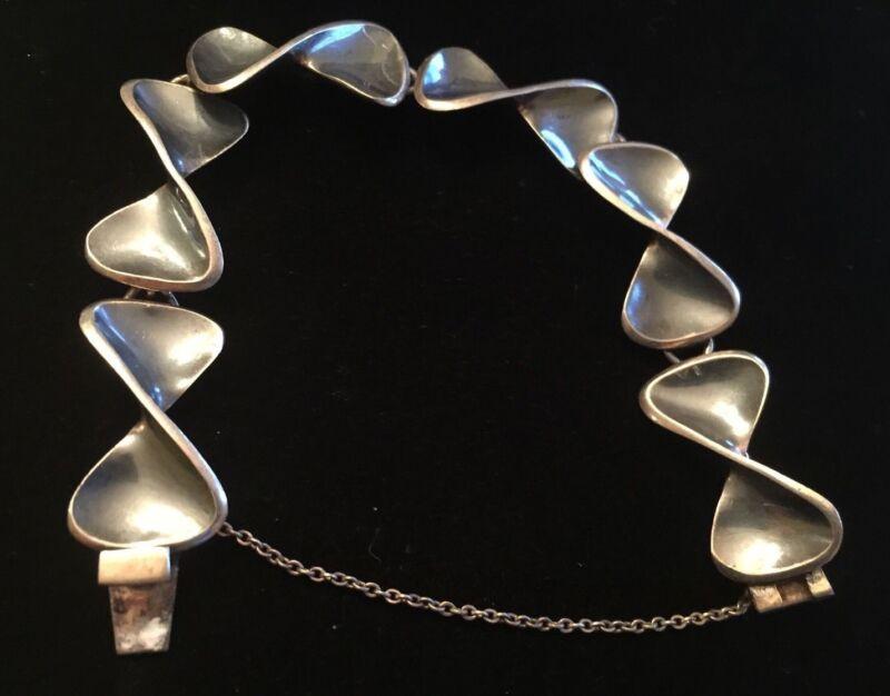 "Vintage SIGI Mexico TAXCO Sterling Silver W/ Blue Mirror Finish 7"" Bracelet"