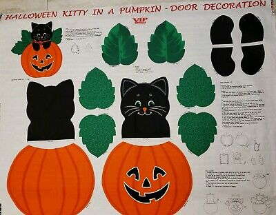 Halloween Kitty In a Pumpkin Door Decoration Craft Panel Approx. 14