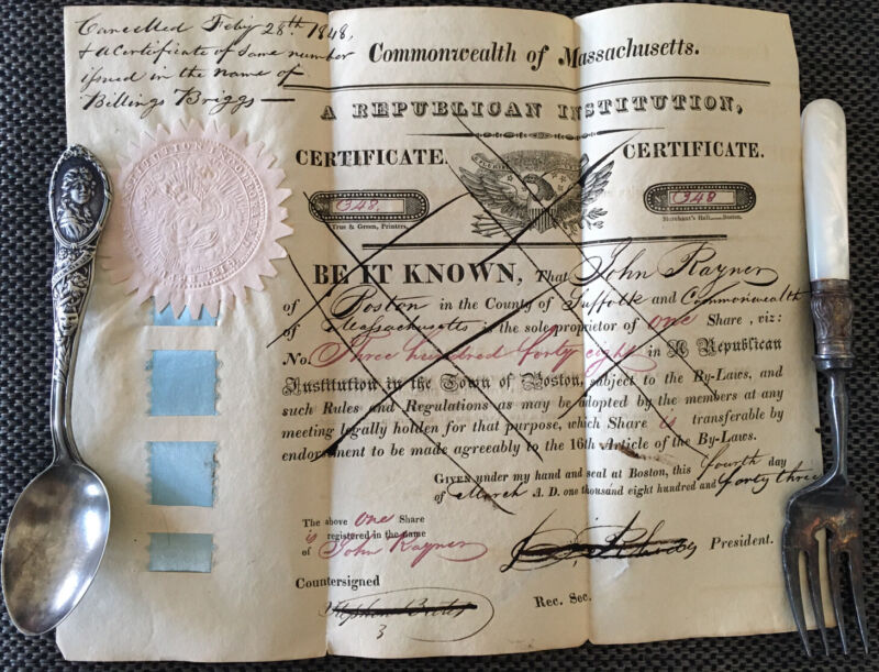 Early American Republican Stock Certificate Temperance Signed Document Trump 43'