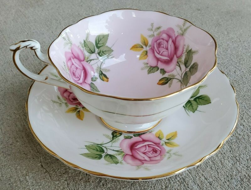 Paragon Garland Roses Teacup and Saucer Set Triple Rose England Bone China