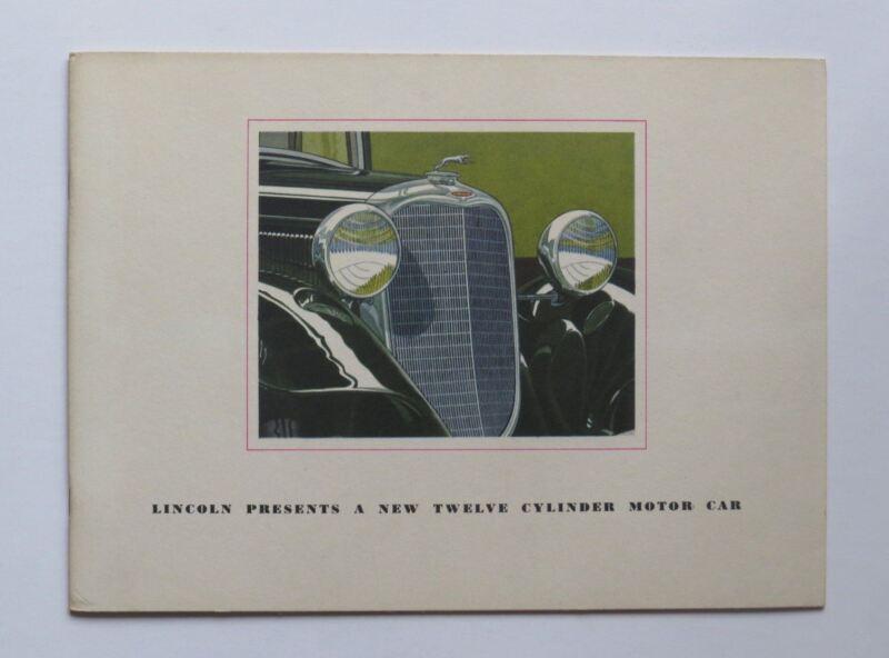 1933 Lincoln V-12 Twelve Cylinder Brochure Phaeton Town Car Roadster Coupe