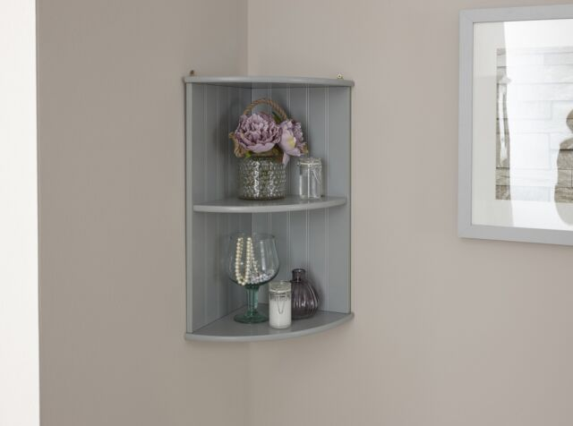 Colonial Corner Shelf Bathroom Storage Wooden Tong Groove 2 Shelves Grey