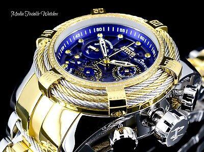 NEW Invicta Reserve Bolt Zeus Tri-Cable 0.33ct DIAMOND Gold Tone Blue Dial Watch, usado comprar usado  Enviando para Brazil