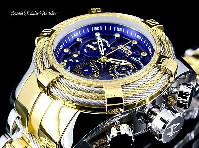 NEW Invicta Reserve Bolt Zeus Tri-Cable 0.33ct DIAMOND Gold Tone Blue Dial Watch