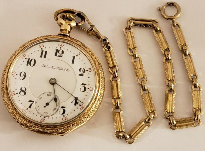 Antique 1903 HAMILTON 21J Railroad Grade 940 RR Ornate Gold GF Pocket Watch 18s